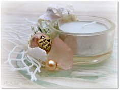 Seashell and Beach Glass Nautical Tealight by A2SeaCreations, $14.99