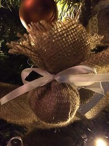Rustic Christmas Tree Ornaments Decorations Set Of 6 Burlap Bundle Baubles 6"