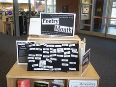 Poetry Month library display board.