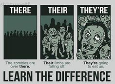 Do you know the difference between there, their, and they're? Here's a handy little grammar reference guide to the correct usage of those words. Oh yeah, and it has zombies. ;) #grammar #punctuation