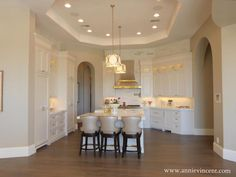kitchens -taupe and white kitchen, archway