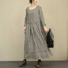 Rund NecK Loose Fitting Long Maxi Dress Long Sleeved Linen