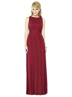 After Six 6709: A beautiful long chiffon bridesmaid dress with a high neckline. Featured in Claret.