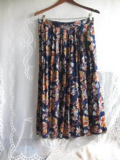 Vintage Navy Blue Floral Pleated Skirt by Anna G Size 15 16 | eBay