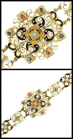 Victorian enamel, diamond, gem-set and pearl bracelet, circa 1880. | Diamonds in the Library