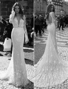 Vestido de manga longa bordado para noivas