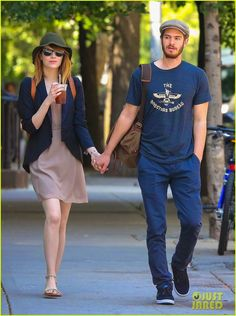 Emma Stone strolled in New York with boyfriend Andrew Garfield - Sort N Shop Shop Similar: Forever 21: Open - Front Blazer ASOS: Mango Chiffon Belted Mini Dress