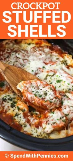 Crockpot stuffed shells are the perfect makre iese-ahead dish! No-boil noodles are filled with a cheese and spinach mixture, topped with pasta sauce, and baked until tender and melted. This dish even freezes and reheats well for the perfect leftovers! Spinach Stuffed Shells, Stuffed Shells Recipe, Baked Stuffed Shells, Slow Cooker Recipes, Cooking Recipes, Crockpot Meals, Crockpot Stuffing, Healthy Recipes, Spinach And Cheese