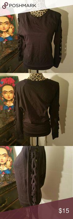Venus Sweater NWOT  Cute black sweater with cut out sleeves Venus Sweaters Crew & Scoop Necks
