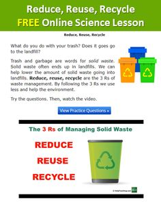FREE Reduce, Reuse, Recycle Online Science Vocabulary Lesson - Get your students ready for Earth Day with this online lesson that reviews the words reduce, reuse, and recycle. This free lesson includes an introduction, video, practice questions, and worksheet. Happy #teaching! #earthday #stem