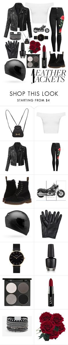 """""""LEATHER JACKETS"""" by haynuxx ❤ liked on Polyvore featuring Gucci, WearAll, LE3NO, Dr. Martens, CLUSE, Gorgeous Cosmetics, NYX and White House Black Market"""