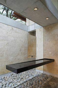 Bathroom design: black and white vanity in minimalistic style, casa-uro - floating vanity Bad Inspiration, Bathroom Inspiration, Mirror Inspiration, Interior Minimalista, Floating Vanity, Bath Design, Sink Design, Design Kitchen, Beautiful Bathrooms