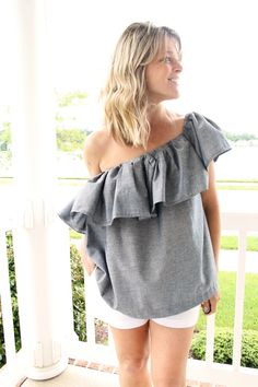 One Shoulder Ruffle Blouse DIY - pull the ruffle up or down off-the shoulder!