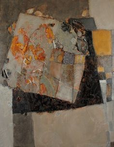 Catherine Severac - Des Lignes et Des Couleurs: IX (Lines and Colors) oil on… Mixed Media Collage, Collage Art, Abstract Words, Abstract Paintings, Landscape Artwork, Contemporary Abstract Art, Mix Media, Art Plastique, Oeuvre D'art
