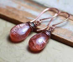 Sunstone Earrings Rustic Copper Wire Wrapped by TheTwistedPretzel