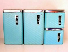 1950s blue metal canisters