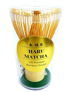 HARU MATCHA - MADE IN JAPAN - Traditional Handcarved Golden Bamboo Matcha Whisk (100 Prongs) ** More info could be found at the image url.
