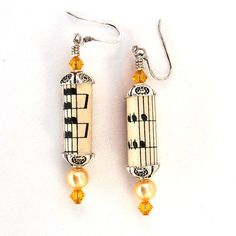 Recycled  Paper Bead Musical Note  Earrings, Sheet Music Art Jewelry, Yellow Dangle Earings via Etsy