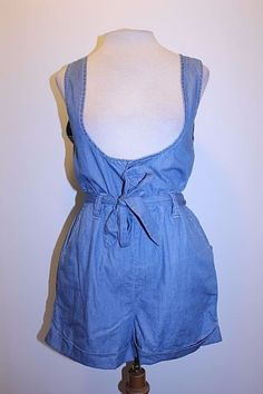 Forever 21 Shorts S Medium Wash One Piece Romper Denim Overall Shorts #FOREVER21 #Overalls #Casual