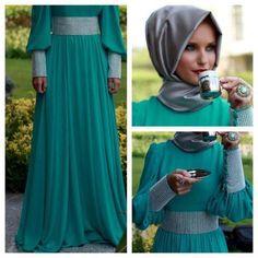 Special Occasion Hijab Styles and Dresses 2013 Turkish Fashion, Islamic Fashion, Muslim Fashion, Turkish Style, Modesty Fashion, Abaya Fashion, Beautiful Hijab, Beautiful Dresses, Turban