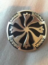 Vtg MEXICO TAXCO Sterling Silver ENAMEL PIN  BROOCH PENDANT Eagle 3 SIGNED MB