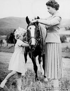 Queen  Elizabeth II with her daughter Princess Anne at Balmoral September 1955