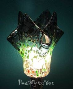 Fused glass lamp made at Pottery By You. So easy - we'll show you how.