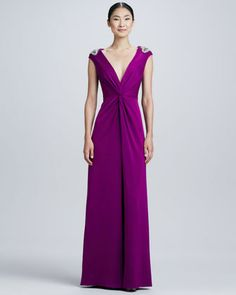 Beaded-Shoulder V-Neck Twist Gown   by Aidan Mattox at Neiman Marcus.