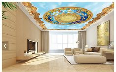 Custom 3d photo wallpaper 3d ceiling wallpaper murals 3 d angels blue sky white clouds ceiling murals 3d room wallpaper