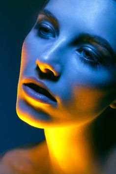 yellow and blue colored light portrait photography, fantasy art fashion editorial photography girl female upper body haute couture luxury high fashion portrait woman in dress in a garden, color photo, fashion face portrait picture, ethereal woman Colour Gel Photography, Photography Women, Light Photography, Creative Photography, Editorial Photography, Fashion Photography, Photoshop Photography, Jewelry Photography, Beauty Photography