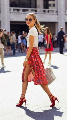Red flowery skirt with white shirt and red high heels