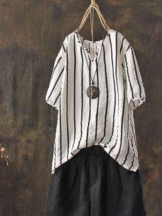5adc4e8a36 Plus Size V-neck Short Sleeve Women Stripe Blouse New Chic