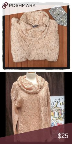NWOT NY Collection Sweater NY Collection Sweater.  Soft pink champagne color with sequin and cowl neck.  Very pretty!!  Size:XL NWOT!!!!! NY Collection Sweaters Cowl & Turtlenecks