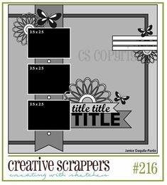 12x12 Scrapbook Sketch 3 Photos. Room for a Title, Journaling or Word Strips and Embellishments.