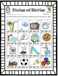 Solid Liquid Gas Worksheet Lovely Free solid Liquid Gas Phases Of Matter Worksheet States Of Matter Worksheet, Matter Worksheets, Science Worksheets, Science Lessons, Science For Kids, Middle School Science, Earth Science, Science Experiments, Science Penguin