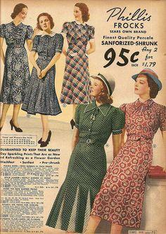 1930s Sear's catalog dress black white red dots plaid floral hat shoes color photo vintage fashion style illustration