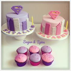 Supergirl themed cake and cupcakes