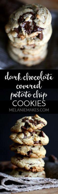 salty combination. Dark chocolate covered potato chips, dark chocolate ...