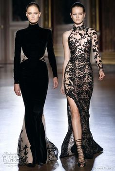 velvet gown with long sleeves and black on sheer nude numbe