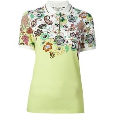 Etro floral paisley print polo shirt (£175) ❤ liked on Polyvore featuring tops, green, green polo shirts, etro, multi color polo shirts, floral polo shirt and colorful polo shirts