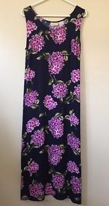 Women's Purple Floral Navy Blue Long Dress   Easter Sz 14 Expressions Green  | eBay