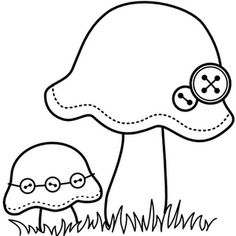 Mushroom - would make adorable applique on a baby pinafore Applique Templates, Applique Patterns, Applique Designs, Embroidery Applique, Cross Stitch Embroidery, Embroidery Designs, Quilting Patterns, Felt Patterns, Craft Patterns