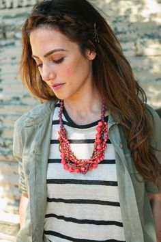 Stripes for fall with 31 Bits necklace