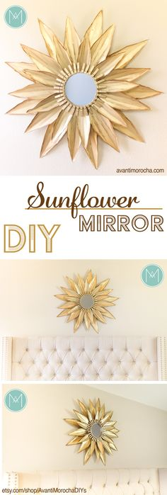 DIY Sunflower Wall Mirror | sunburst – made with cardstock | Home Decor | Espejo de Girasol – hecho con cartulina – AvantiMorocha Blog