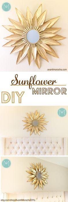 DIY Sunflower Mirror – made with cardstock | Home Decor | Espejo de Girasol –…