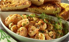 Grilled Shrimp Scampi and Garlic Bread ~ Our quick and easy Shrimp Scampi is perfect as an appetizer or main dish and is ready to serve in just 15 minutes! | BetterThanBouillon.com