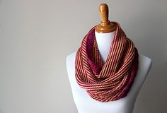 This striped cowl brings together a few simple structural elements for an eye-catching, modern effect.