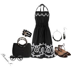 I'm not sold on the shoes, but I love this dress and bag for sure.