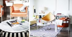 Tour A Dallas Apartment That's Big on Style// woven chair, driftwood, striped rug