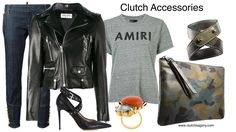 This is my go-to-outfit. Camo accessories, denim jeans & biker jacket says cool and effortless style!  Follow us on Instagram @ clutchbagsny Clutch It and Go! www.clutchbagsny.com https://www.clutchbags.com/product-page/zipper-pouch https://www.clutchbags.com/product-page/double-wrap-cuff #zipperpouch #madeinusa #keepitclutch #camouflage #clutch#leather Farfetch.com Matchesfashion.com AMIRI  logo print destroyed T-shirt SAINT LAURENT  glitter logo biker jacket VALENTINO  Valentino Garavani…